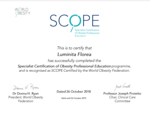 certification obesity professional education Luminita Florea